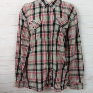 Vans Plaid Button Up Shirt XXL Red Button